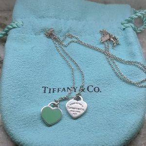 Tiffany & Co RTF Sterling w/Blue Mini Double Heart